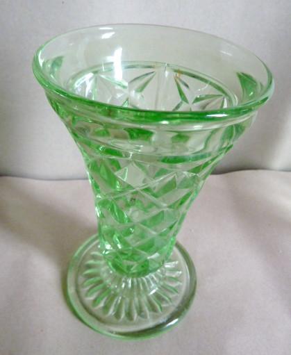 Sold E155 1930s Green Depression Glass Vase 1930s