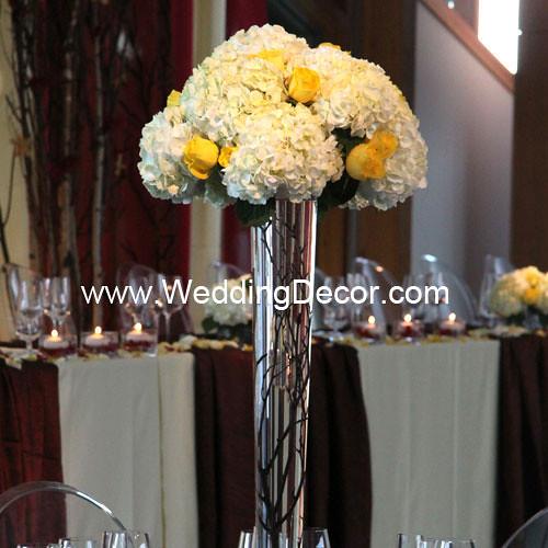 Wedding centerpieces birch branches hydrangea yellow