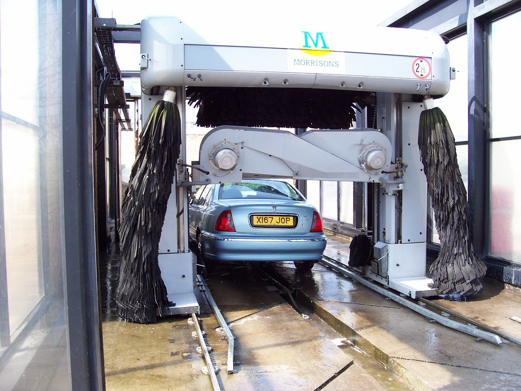 Washing Car Back To Camera