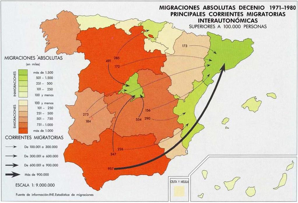 mapa de las migraciones interiores entre 1971 80 1