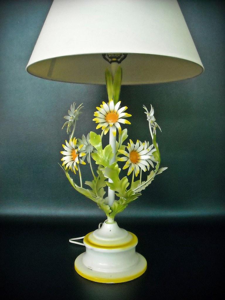 Vintage Lamp Tole Metal Flower Daisy Enameled Mid Century