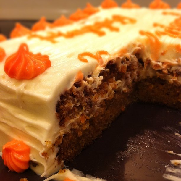 Homemade Carrot Cake With Cream Cheese Icing