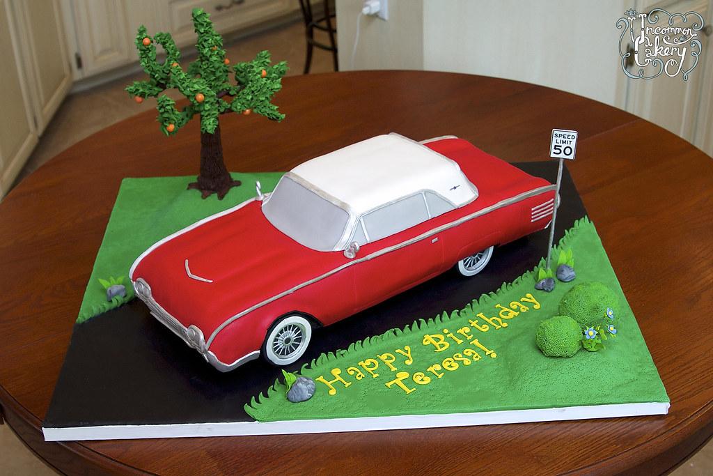 Antque Tunderbird Car Birthday Cake