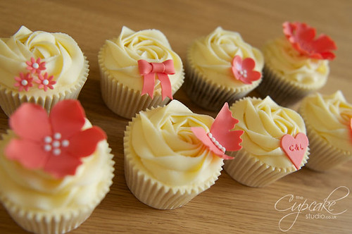 Coral & White Wedding Cupcakes | by The Cupcake Studio