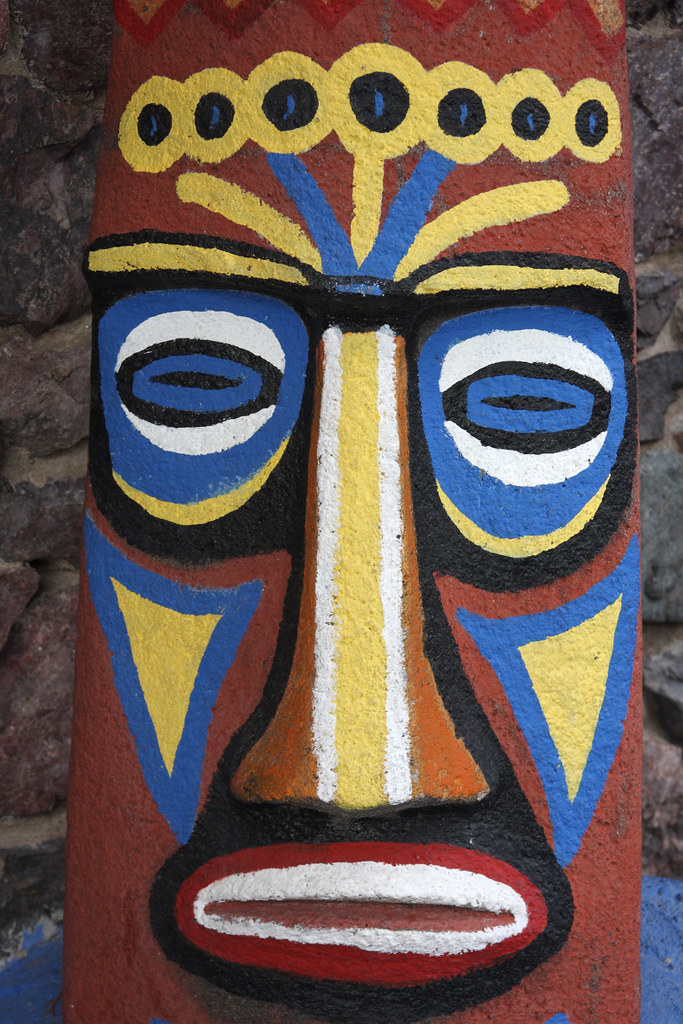 tiki face a close up of the tiki face outside the main