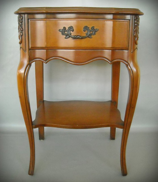 Paris Nightstand: Pair French Hollywood Regency Nightstand End Table Cherry