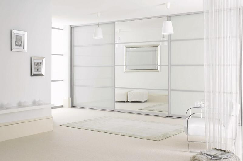 Sliderobes Fitted Sliding Wardrobe White Glass Mirror Bedr