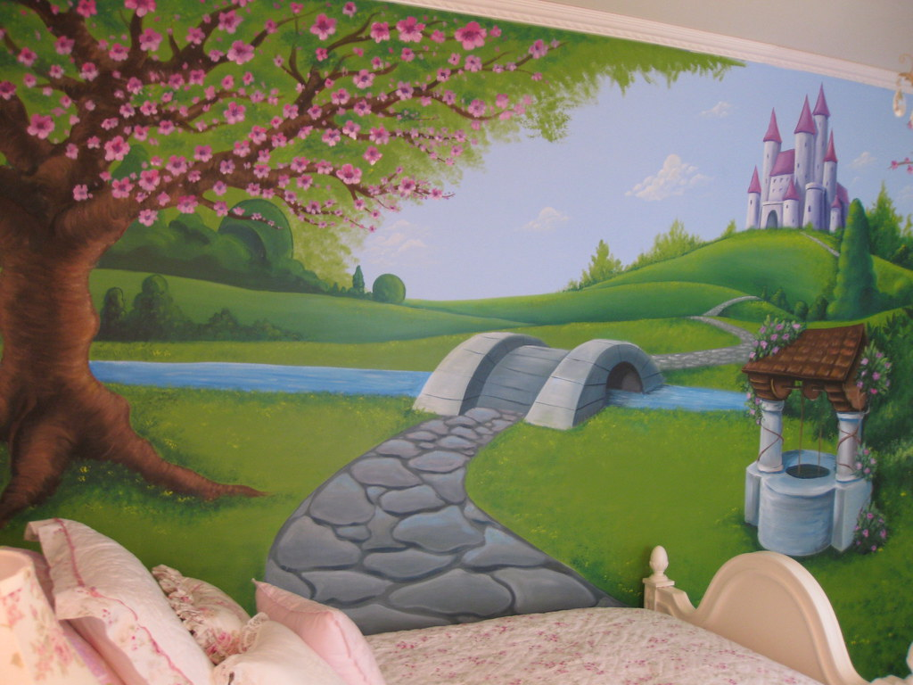 Princess girls wall mural hand painted bedroom wall for Castle mural kids room