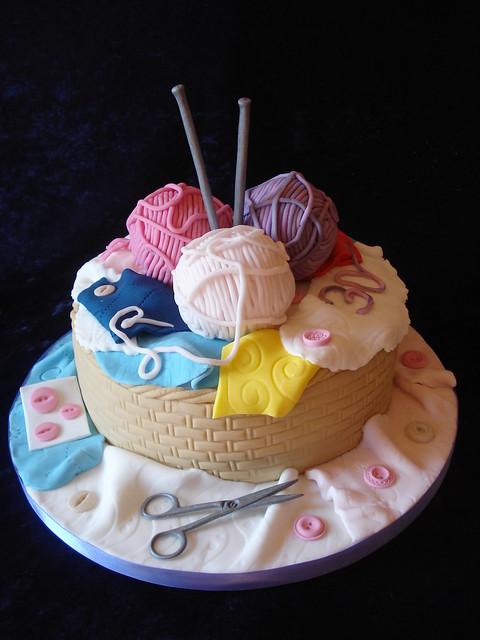 Knitting Birthday Cake Ideas : Knitting basket cake flickr photo sharing