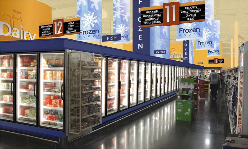 Grocery Freezer Section Market Design Rendering 3d Dec