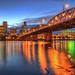 Under the Hawthorne Bridge at Blue Hour - HDR Topaz Adjust