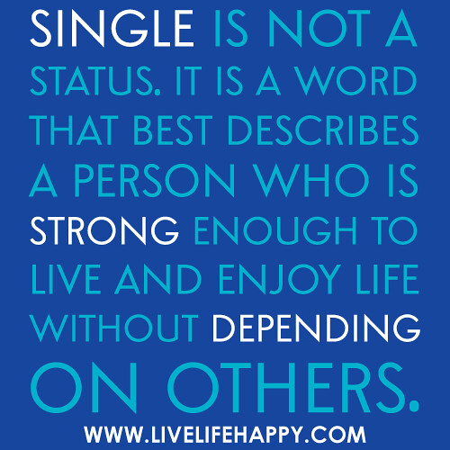 Single is not a status. It is a word that best describes a ...