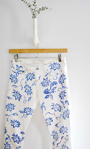 diy floral jeans-white jeans with blue floral pattern | by ...love Maegan