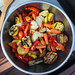 squared circle: bowl of grilled veggies