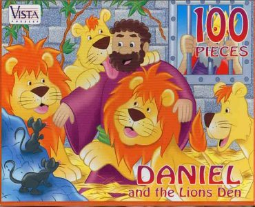 "VISTA PUZZLES :: ""DANIEL and the Lions Den"" - 100 Piece Jigsaw Puzzle { Art by Hatten & Brown } (( 199x )) 