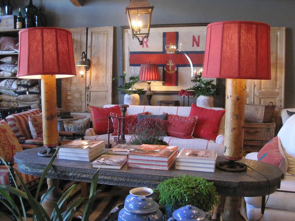 Maison au naturel via griege red white and blue flea mar Old style living room ideas