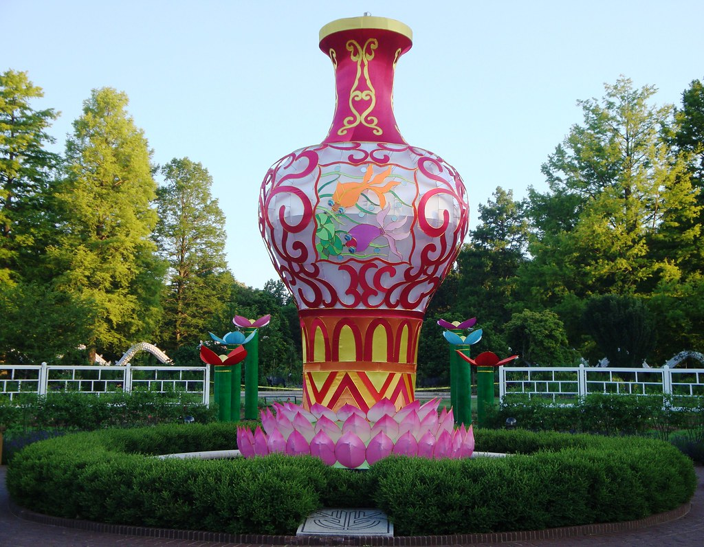 Lotus Ponds Set In Gladney Rose Garden A Portion Of The: missouri botanical garden lantern festival