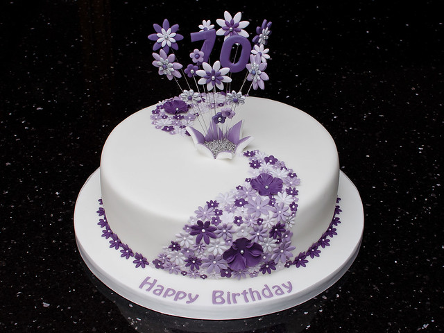 70th Lilac Flower Cake 70th Birthday Cake With Flower