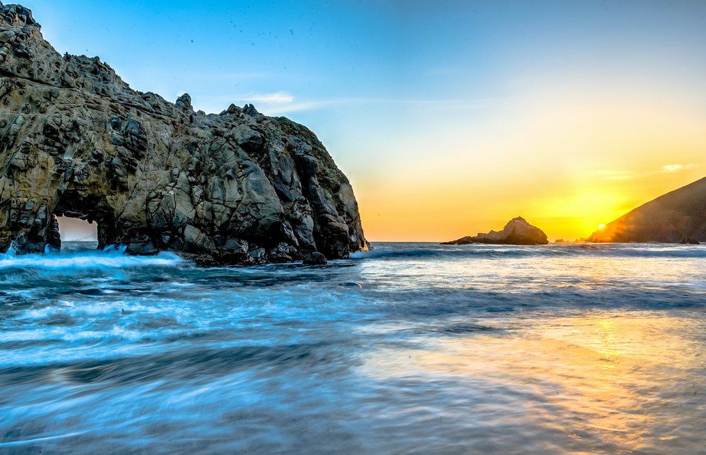 Big Sur Sunset Window Rock On Pfeiffer Beach Nikon D800e