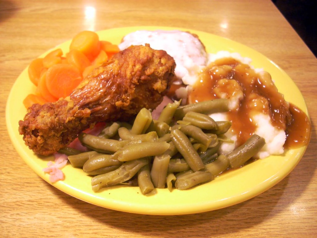 Fried chicken, country-fried steak, mashed potatoes, green… | Flickr