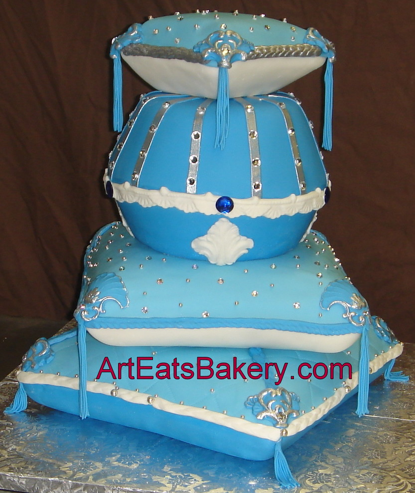 blue birthday cake custom designed blue fondant silver pearls and rhinestone 1922