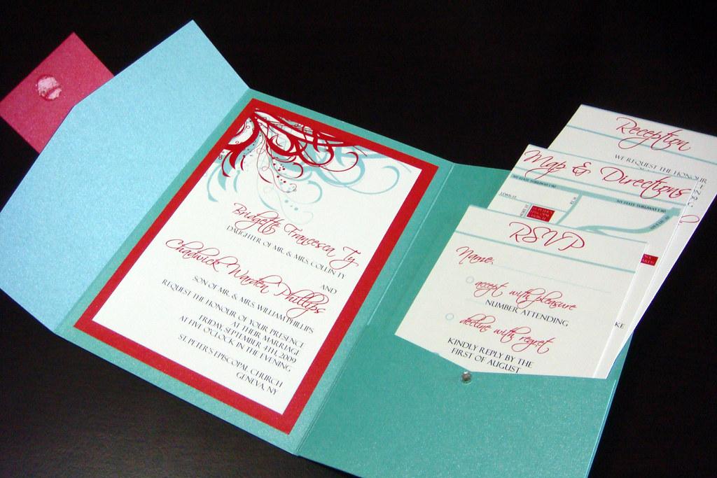 Wedding Invitations Red White And Black: Aqua (Tiffany Blue) And Red Wedding Invitations