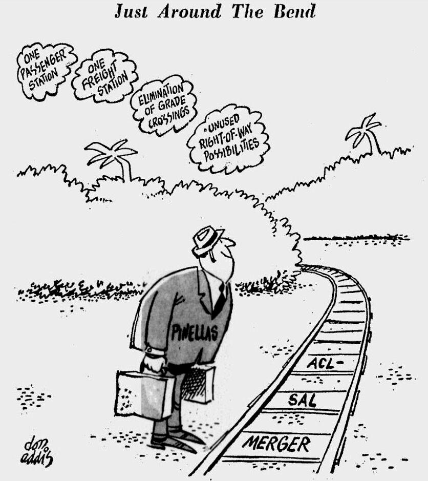 Editorial Cartoon Shows Optimism About Railroad Merger In