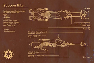 Speeder Bike Blueprint - Star Wars | by A2K Design