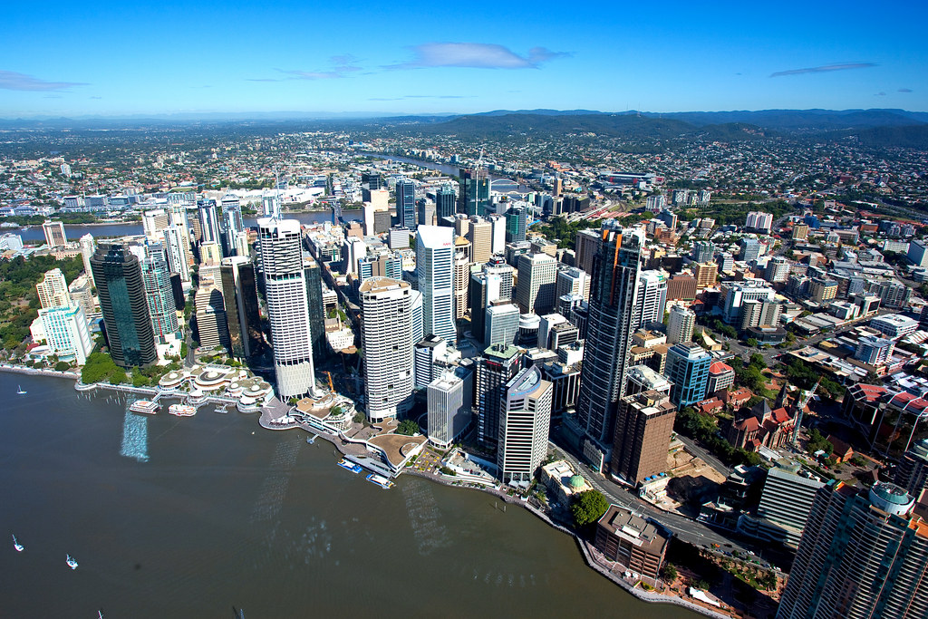 An aerial view of Brisbane City. Photo by Brisbane City Council, 19 November 2010.