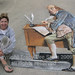 3d street painting - ben franklin