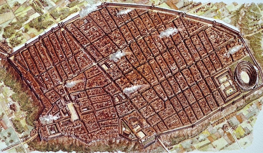 Tranh vẽ bố cục của Pompeii, cho thấy dân cư đông đúc và thịnh vượng. Nguồn: Flickr.