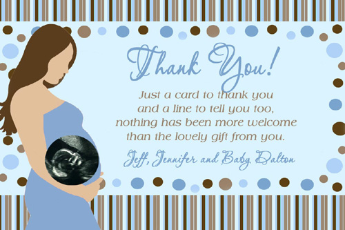 Pregnant Mommy Ultrasound Photo Baby Shower Thank You Card