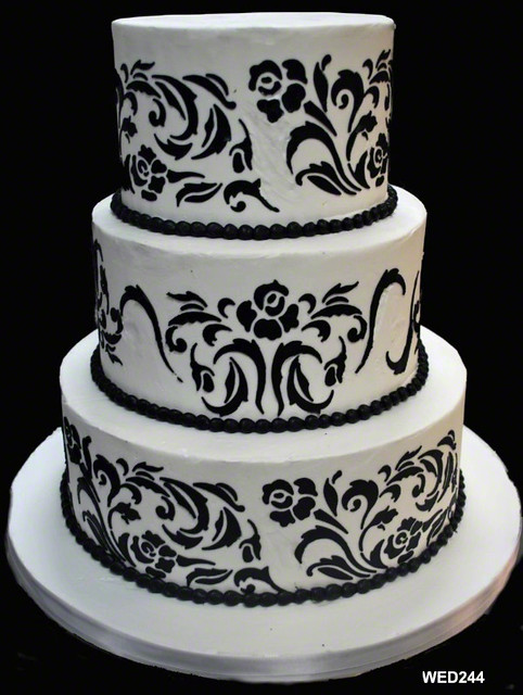 WED244 Stencil wedding cake www.3brothersbakery.com ...
