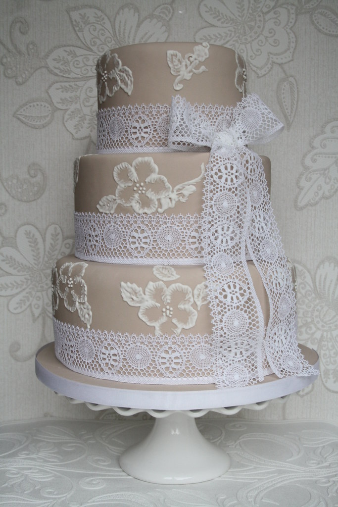 Brush embroidery cake dummy made for wedding fayre