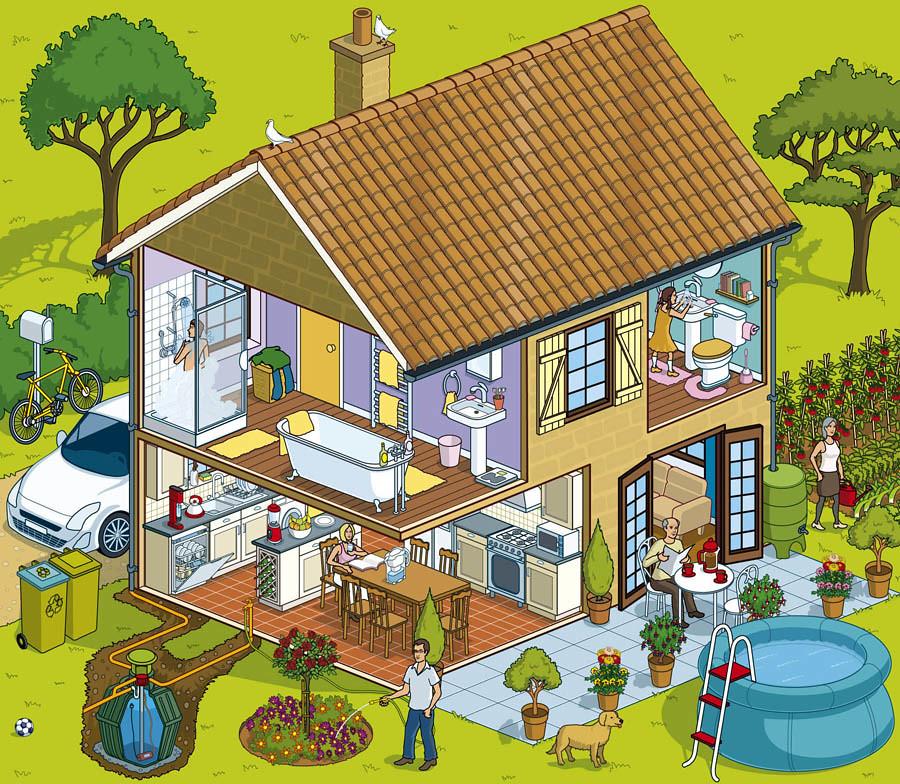 Lyonnaise Des Eaux Water Saving House Flash Website Isom
