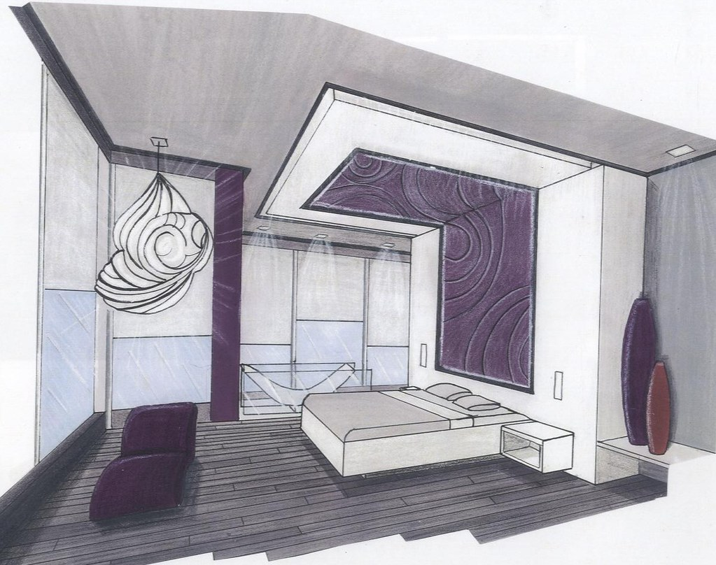 Perspective chambre affluence design home staging flickr for Dessin chambre perspective