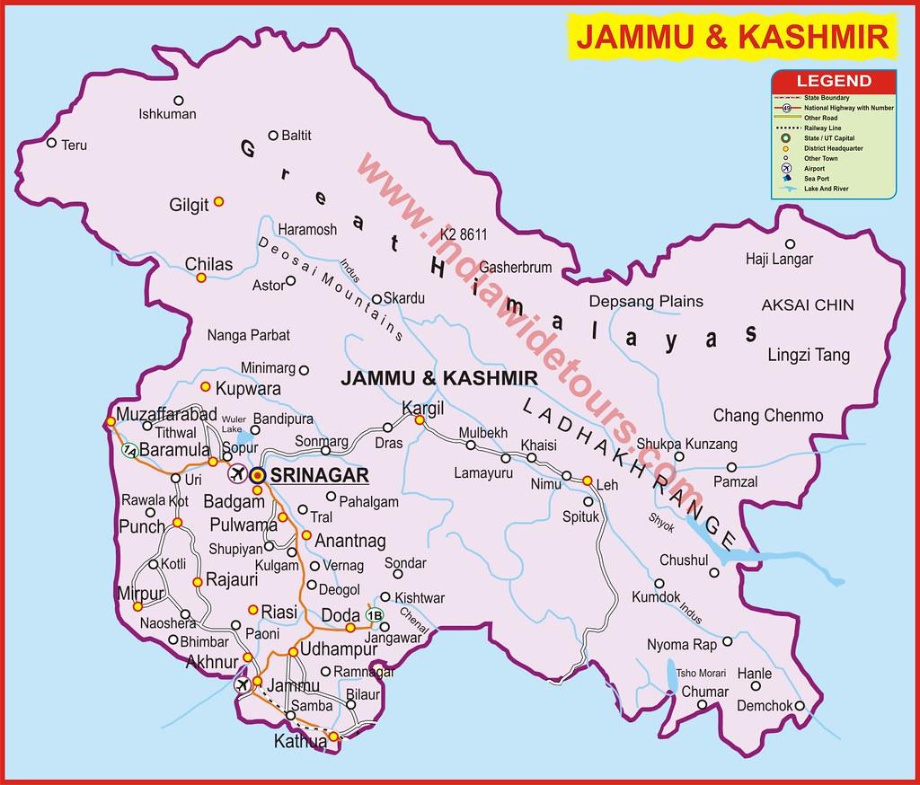 Political Map of Jammu  Jammu And Kashmir World Map