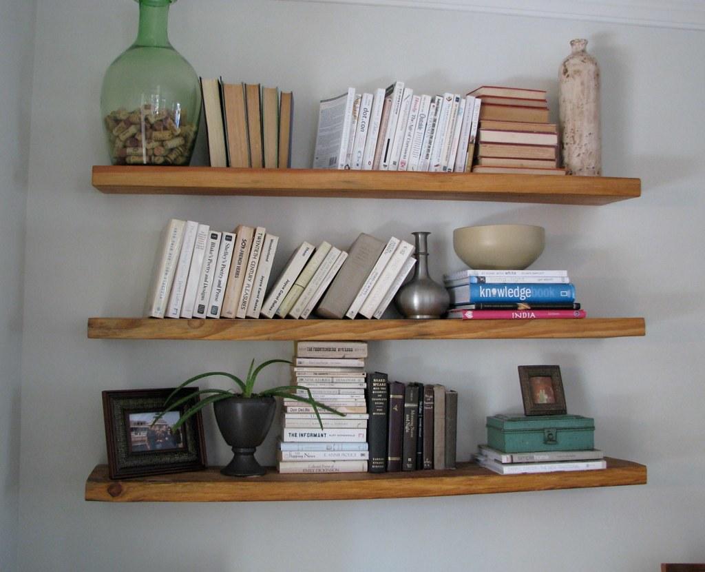 Reclaimed wood floating shelves for Shelves made from reclaimed wood