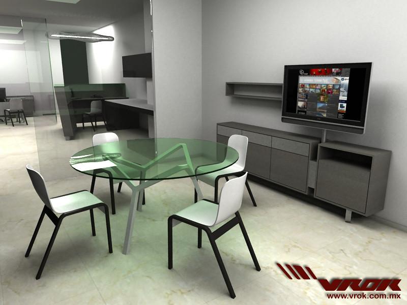 Dise o de oficina y sala de juntas mobiliario vrok mesa for Mesas y sillas para oficina