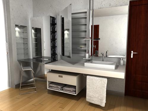 Dise o de muebles para ba o resina y acero inoxidable for Muebles bano pequenos diseno
