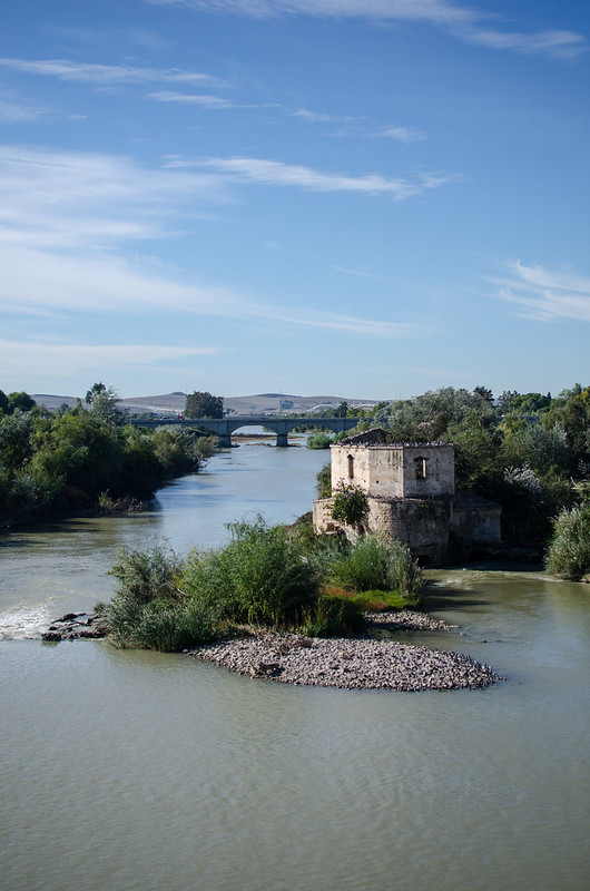 A sunny view of Córdoba and the Guadalquivir river from the Roman Bridge.