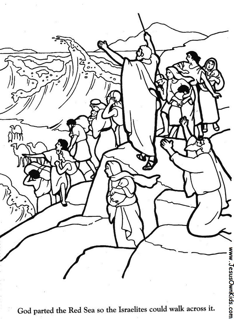 moses red sea crossing coloring pages | 2g. Exodus - God parted the Red Sea www.JesusOwnKids.com ...