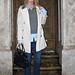 burberry trench coat+jeans+sweater vest+boots+doorstep