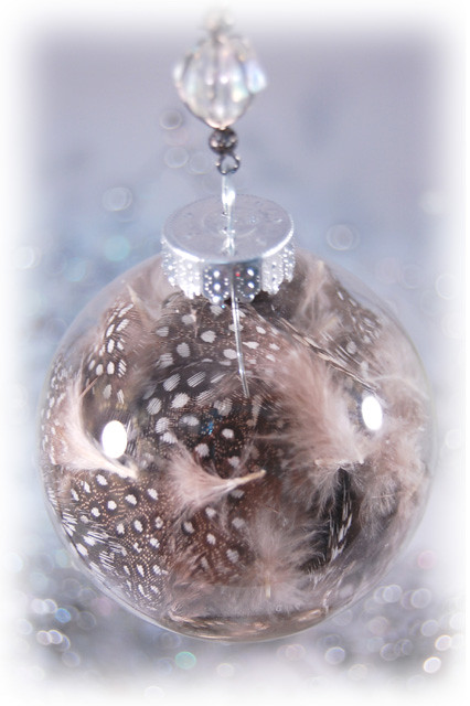 Antique Christmas Ornaments >> sienna | Glass bulb filled with guinea hen feathers ...