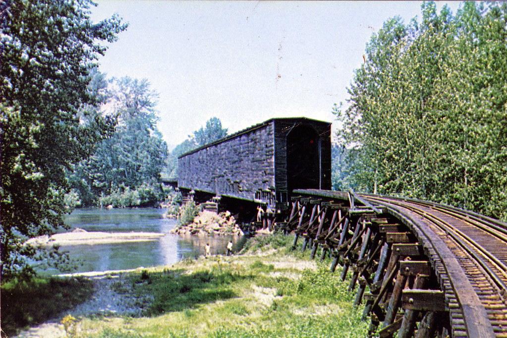 postcard milwaukee road covered bridge at monroe wa flickr