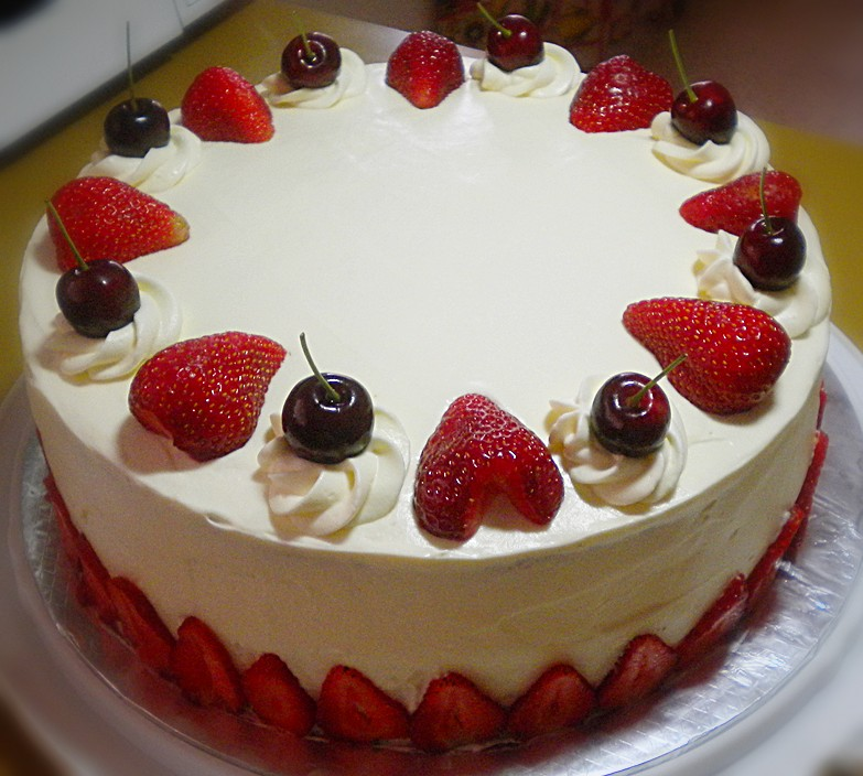 Chocolate chiffon cake with strawberries and cherries | Flickr