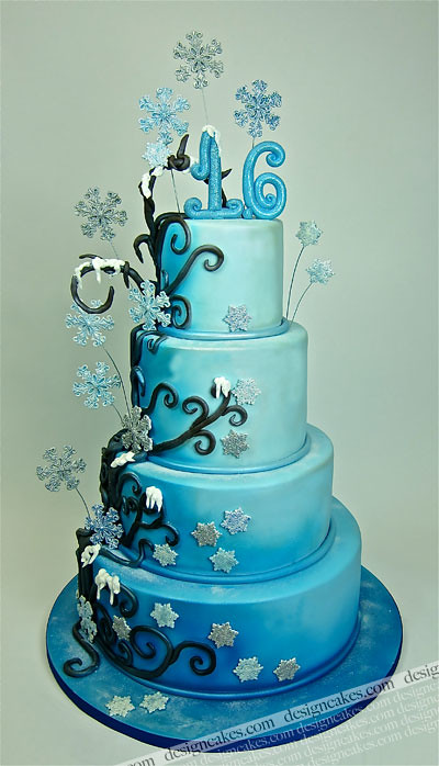 Cake Designs For Sweet Sixteen : Winter wonderland sweet sixteen cake Christine Pereira ...