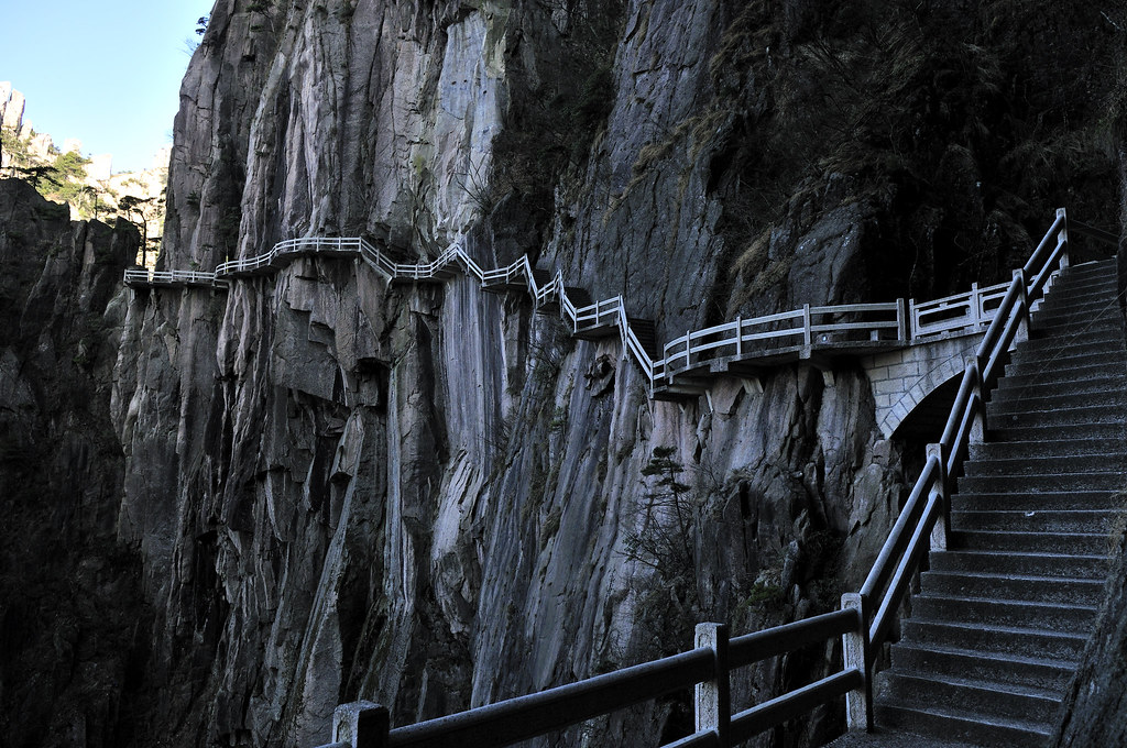 Winding Cliff Path At West Sea Grand Canyon Huangshan Yel