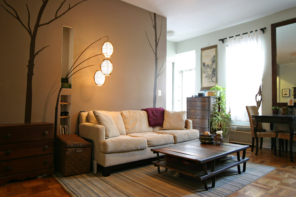 Accent wall with trees zack schildhorn flickr for Living room ideas zen