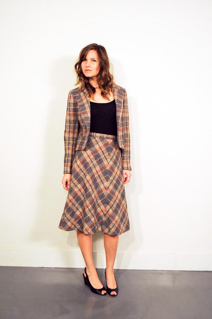 70s Plaid wool skirt and Jacket Set- Vintage VTG 1970 70s ...